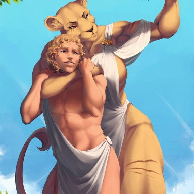 unwanted-furart, nemea (casimyrcsko), felid, human, lion, mammal, pantherine, anthro, arm around neck, athletic, big breasts, blonde hair, breasts, clothing, duo