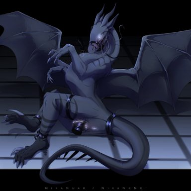 nikanuar, dragon, scalie, anus, black body, black scales, bodily fluids, bridle, claws, dildo, dildo in pussy, dildo insertion, female, feral, floor