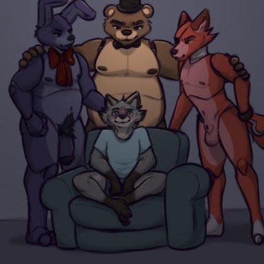 marcofox, bonnie (fnaf), foxy (fnaf), freddy (fnaf), marco (marcofox), five nights at freddy's, piper perri surrounded, canid, canine, fox, lagomorph, leporid, mammal, rabbit, robot