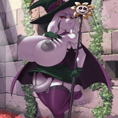 kevinsano, asriel dreemurr (god form), flowey the flower, patreon, undertale, boss monster, bovid, caprine, mammal, anthro, balls, big breasts, black sclera, breasts, clothed