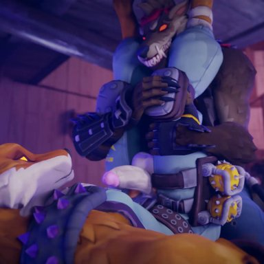 twitchyanimation, dire (fortnite), fennix (fortnite), blender (software), epic games, fortnite, canid, canine, canis, fox, mammal, wolf, 5 fingers, accessory, anal