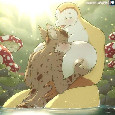 marik azemus34, helga vanilla, avian, bird, domestic cat, felid, feline, felis, mammal, owl, anthro, big breasts, breast squeeze, breasts, curvy figure