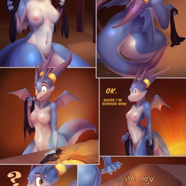 littlenapoleon, watsup, dragon, mammal, scalie, ?, after transformation, anthro, blush, breasts, claws, clothed, clothing, coin, derp eyes