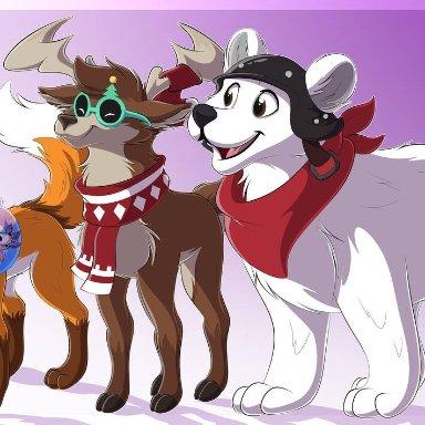 le0-wolfart (artist), axo (fortnite), dolph (fortnite), fennix (fortnite), polar patroller (fortnite), epic games, fortnite, amphibian, axolotl, canid, canine, capreoline, cervid, fox, mammal
