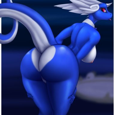 derangedrake, nintendo, pokémon, dragon, dragonair, pokémon (species), scalie, anthro, big breasts, big butt, blue body, blue scales, breasts, butt, female