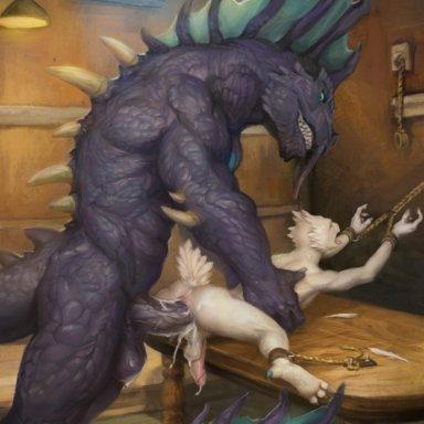 orcfun, talo tsurrat (nimratu), twstacker (character), aquatic dragon, avian, bird, dragon, marine, scalie, anal, anal penetration, anthro, anthro on anthro, anthro penetrated, anthro penetrating