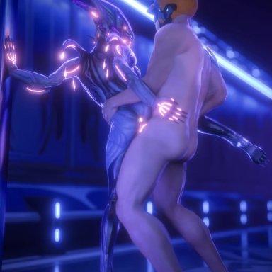 niki3d, sound warning, valkyr (warframe), blender (software), warframe, alien, human, humanoid, mammal, tenno, anus, armor, bioluminescence, bouncing butt, breasts