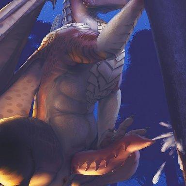 drakawa, draco (dragonheart), dragonheart, universal studios, dragon, scalie, animal genitalia, anus, bodily fluids, claws, crouching, cum, cum on tree, cumshot, ejaculation