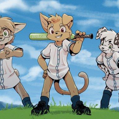 harmarist, canid, canine, canis, dalmatian, domestic cat, domestic dog, felid, feline, felis, mammal, anthro, ball, baseball (ball), baseball bat