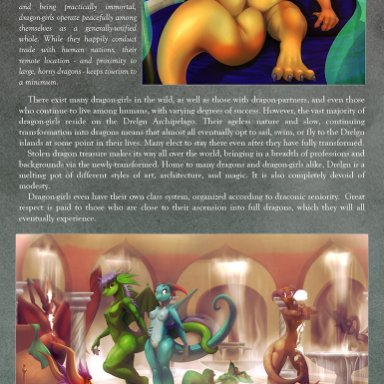 littlenapoleon, watsup, dragon, after transformation, anthro, bathing, big breasts, breasts, cunnilingus, detailed background, female, group, hair, huge breasts, magazine