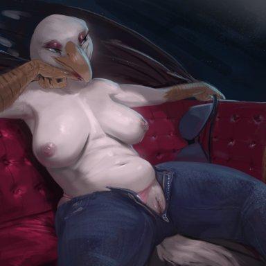 killioma, gale featherbeak, avian, bird, california gull, gull, lari, larid, 4 fingers, anthro, areola, beak, bedroom eyes, belly, big breasts