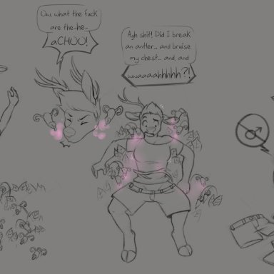 tyroo, cervid, lutrine, mammal, mustelid, after transformation, anthro, black text, breasts, clothed, clothing, crossgender, duo, female, gender transformation