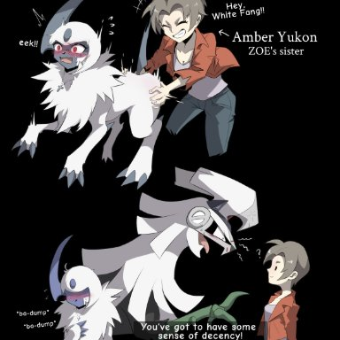 tenebscuro, amber yukon, buck (tenebscuro), white fang (tenebscuro), nintendo, pokémon, absol, human, legendary pokémon, mammal, pokémon (species), silvally, ?, ambiguous gender, black background