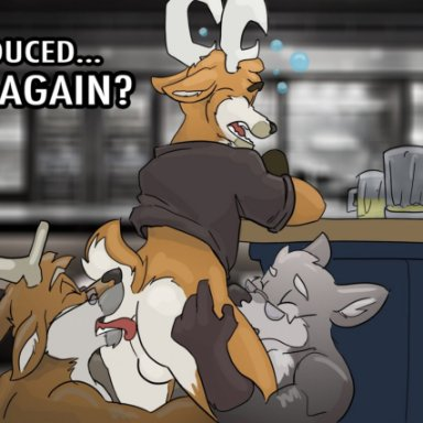 furfragged, arthur (furfragged), sino, unnamed old wolf (furfragged), canid, canine, canis, cervid, mammal, wolf, age difference, anal, anthro, anthro on anthro, anthro penetrated