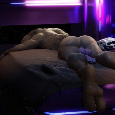 moreuselesssource, halo (series), microsoft, xbox game studios, alien, sangheili, 2 toes, balls, bed, butt, feet, furniture, genitals, glans, lying