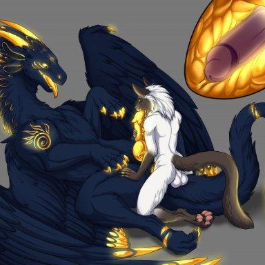 silvergrin, zetsin, domestic cat, dragon, felid, feline, felis, furred dragon, mammal, scalie, western dragon, anal, anal penetration, anthro, anthro on feral