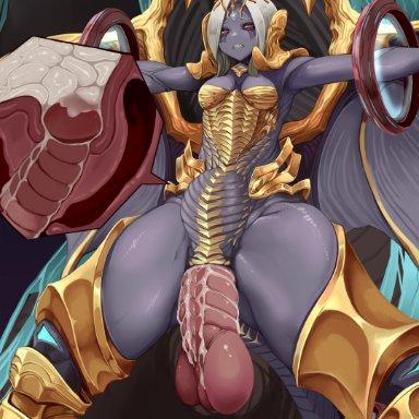 hitokuirou, bahamut, nael deus darnus, final fantasy, final fantasy xiv, square enix, animal humanoid, dragon, dragon humanoid, humanoid, abdominal bulge, bestiality, big penis, bodily fluids, cervical penetration