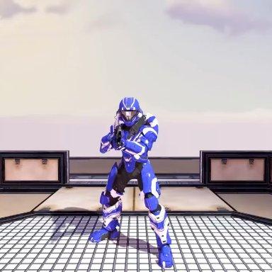 layzuhcatz, spartan (halo), halo (series), microsoft, xbox game studios, human, mammal, armor, duo, facesitting, female, fight, first person view, gun, male