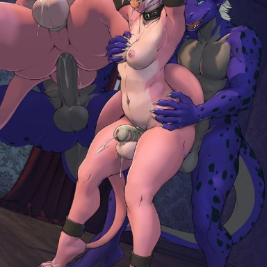 twinkle-sez, dragon, wingless dragon, anal, anal penetration, anthro, anthro on anthro, anthro penetrated, anthro penetrating, anthro penetrating anthro, ball gag, blue eyes, bodily fluids, breasts, chastity cage