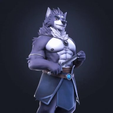 lucyon, vulgor (far beyond the world), far beyond the world (series), canid, canine, canis, mammal, wolf, abs, amulet, anthro, black nipples, chest tuft, clawed fingers, claws
