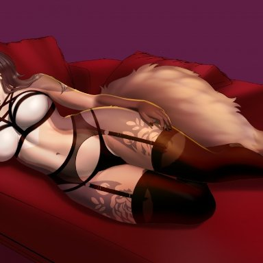 pipyaka, chessie (shycyborg), canid, canine, fox, mammal, anthro, arm on leg, arm on thigh, arm support, bed, big breasts, breasts, brown body, brown fur