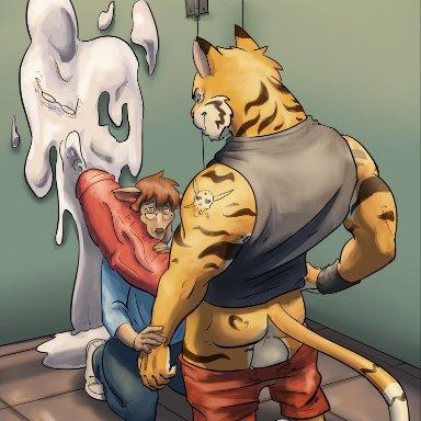 wolfsecret, cervid, felid, humanoid, mammal, pantherine, tiger, after vore, anthro, balls, bathroom, big balls, big penis, bodily fluids, bottomwear