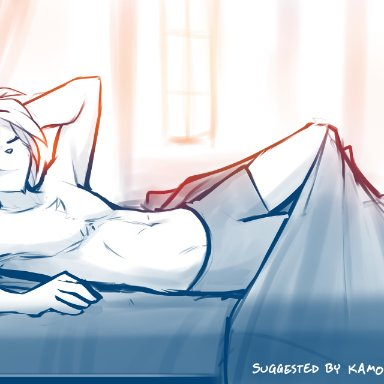 conditional dnp, tom fischbach, keith keiser, twokinds, basitin, mammal, anthro, bed, bottomwear, chest tuft, clothed, clothing, eyes closed, furniture, hand behind head
