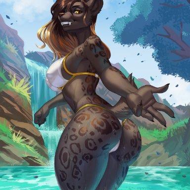 alanscampos, galiena (castbound), selena (baelfire117), baelfire117, felid, mammal, pantherine, 5 fingers, anthro, big breasts, big butt, bikini, black body, black fur, black hair