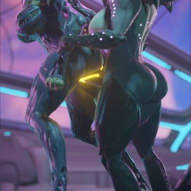 niki3d, saryn (warframe), wisp (warframe), blender (software), warframe, alien, humanoid, tenno, anus, bioluminescence, bouncing breasts, bouncing butt, breasts, butt, duo